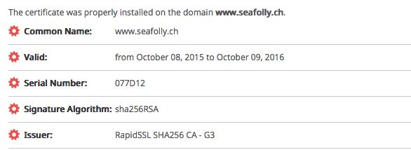 seafolly.ch - Info zu TLS/SSL Zertifikat