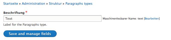 Paragraphs Typ Text erstellen