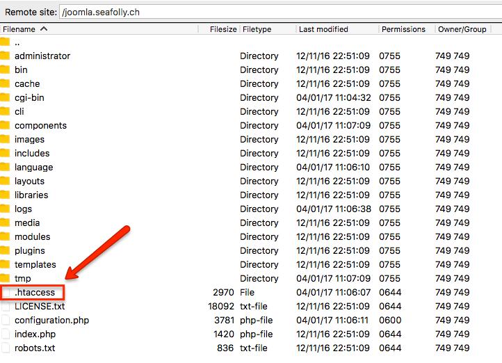 .htaccess Datei im Joomla Verzeichnis