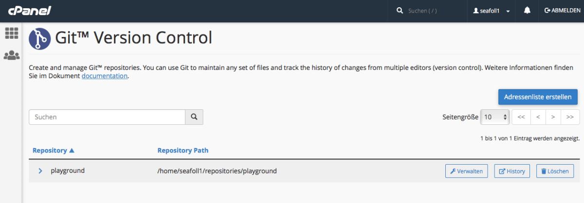 Versionskontrolle mit GIT und cPanel