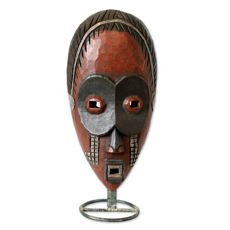Dan Ghost Mask Hand Carved with Stand Original Art NOVICA West Africa