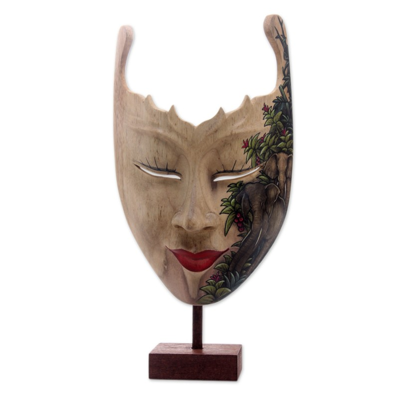 Hand Painted Modern Balinese Mask and Stand, 'Queen of Elephants' Indonesian Wall Art Carved and Painted Original NOVICA Fair Trade