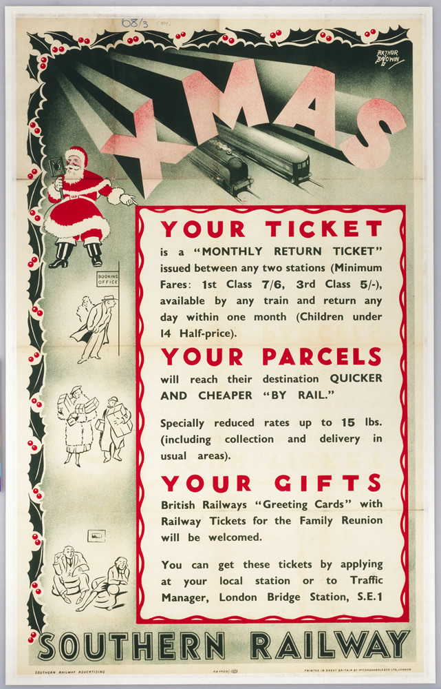 'Xmas - Your Ticket, Your Parcel, Your Gifts', Southern Railway poster, 1937. (Img ref: 10308353)