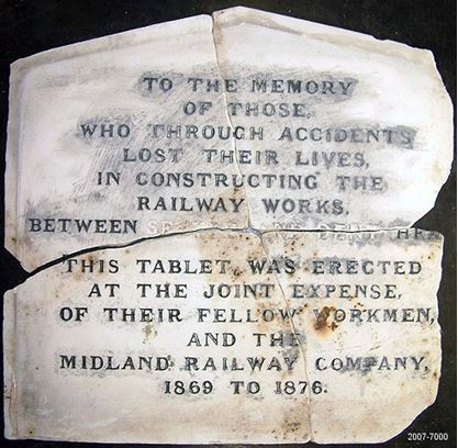 A memorial stone to workmen killed during the construction of the line (in the National Railway Museum Collection there is now a more modern monument at the viaduct)