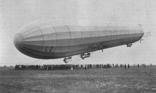 'Terror from the Skies' - the German Zeppelin LZ 18 (L 2), similar to those used in bombing raids on Britain. (Public Domain image – Wikipedia)