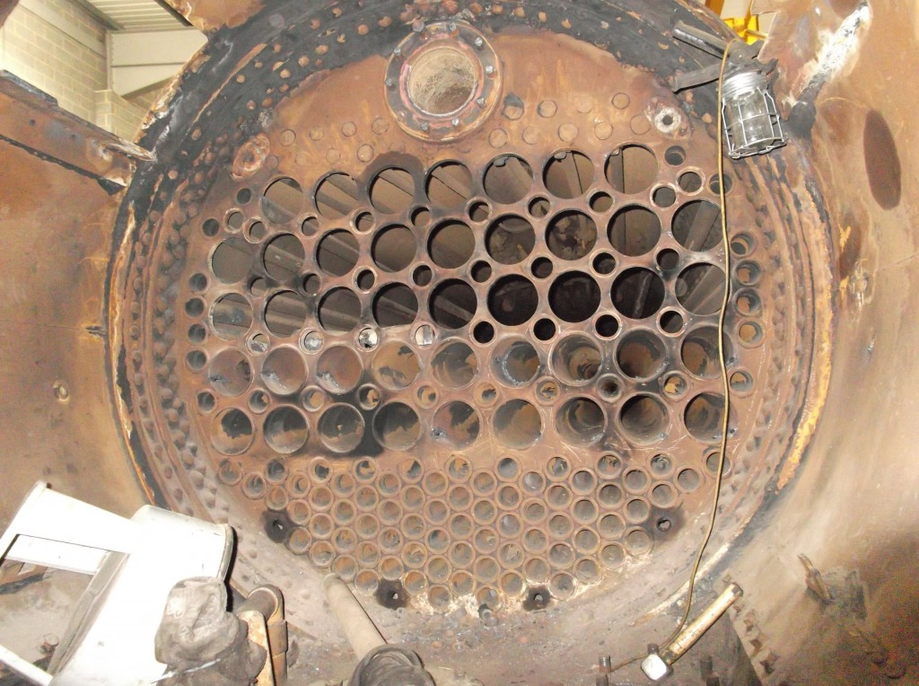 The front tubeplate - top 3 rows of flue tubes with surrounding small smoke tubes removed