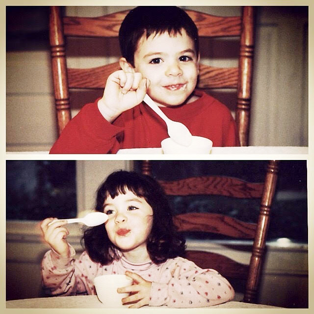 Rebecca Delevati and her twin brother, Stephen, as children eating ice cream.