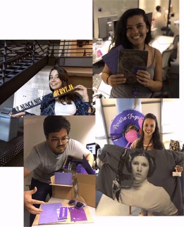 Nuestra equipo de atención con regalos y cartas enviados a clientes de Nu en Brasil: tecnología y atención humana, siempre.