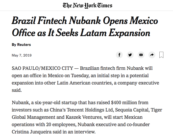 The New York Times : Nubank en México