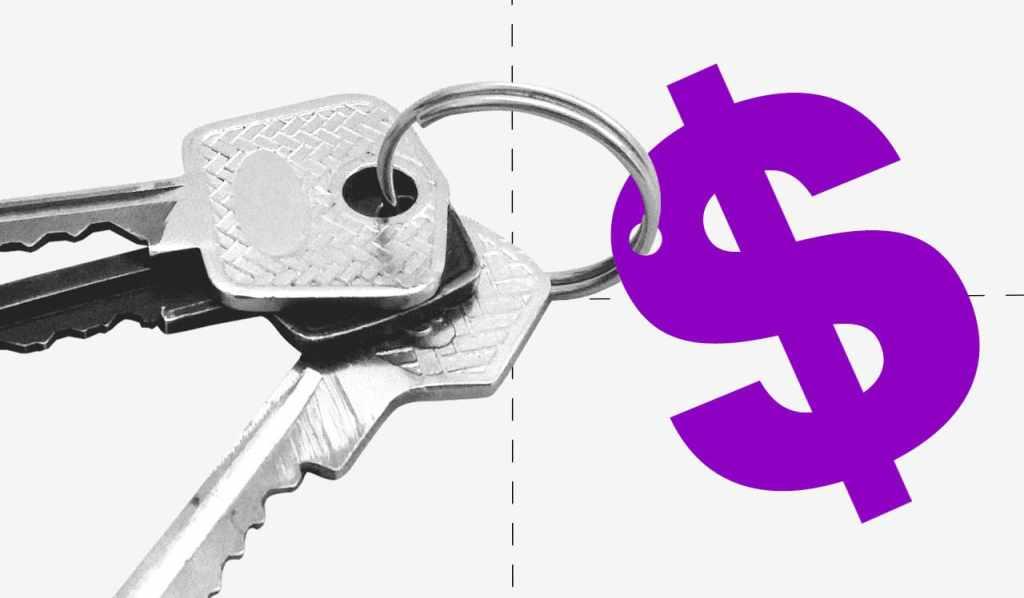 Un par de llaves enganchadas a un dibujo del símbolo pesos en color violeta
