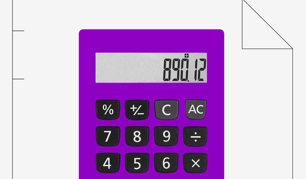 Cartão de crédito sem anuidade: imagem mostra uma calculadora roxa