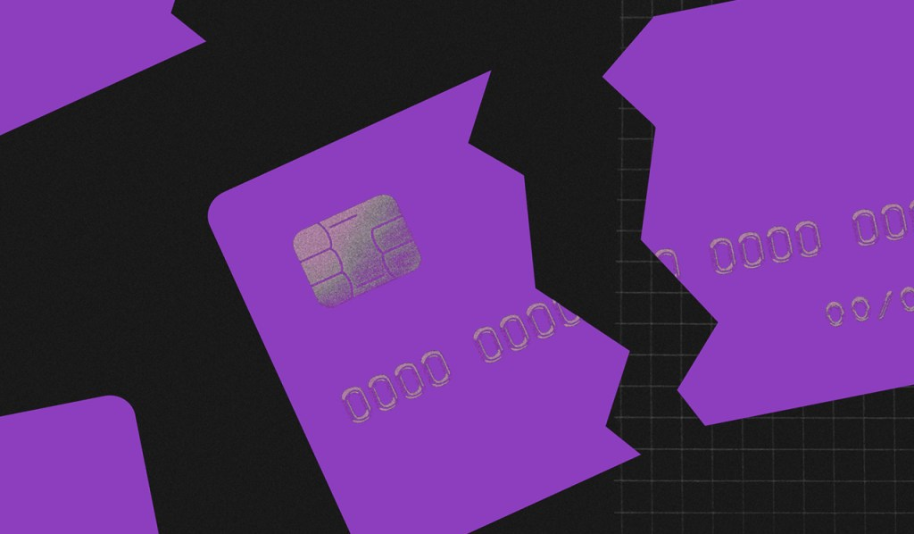 Cartão de crédito sem anuidade: ilustração mostra um cartão quebrado