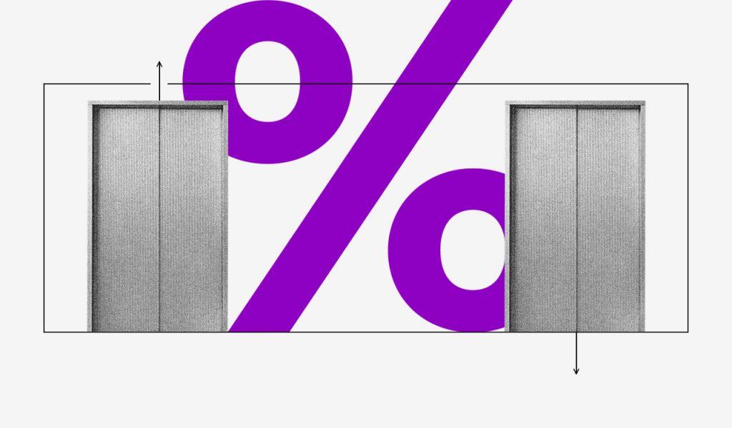 O que é CDI: duas portas de elevador e um sinal de porcentagem roxo entre elas