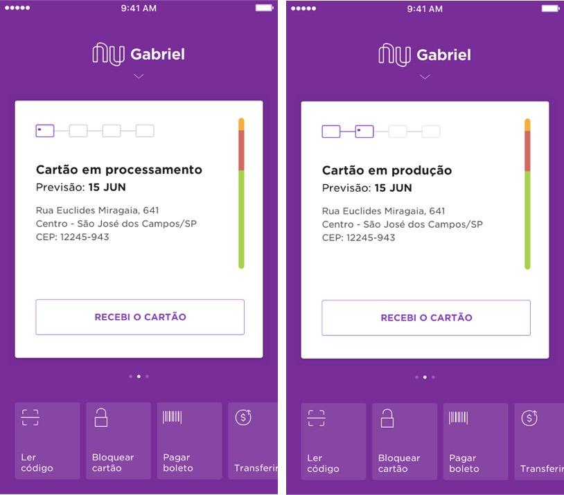 Imagens da tela do aplicativo mostram a previsão de quando o cartão Nubank será entregue