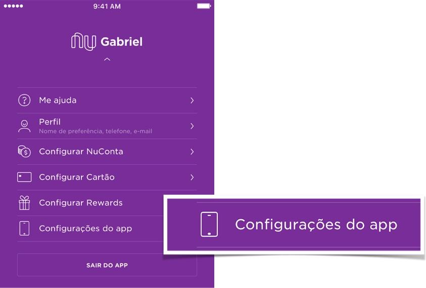 Imagens da tela do aplicativo mostram como acessar a configuração do app