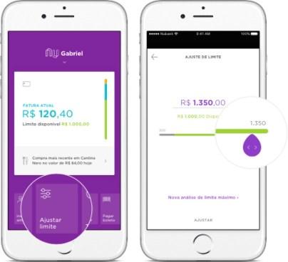 Imagem mostra app com a tela de ajustar o limite em dois celulares