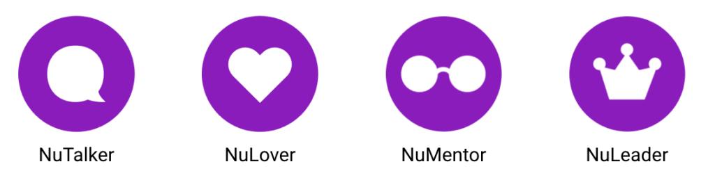 Imagem mostra quatro ícones roxos e brancos: um balão de conversa, um coraçõa, um binóculo e uma coroa. Cada um deles representa os quatro estágios da comunidade Nubank