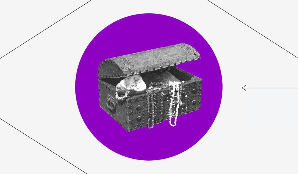 Como funciona o FGC: Um Tesouro com joias e outros itens dentro de um círculo roxo e com um losango ao seu redor.