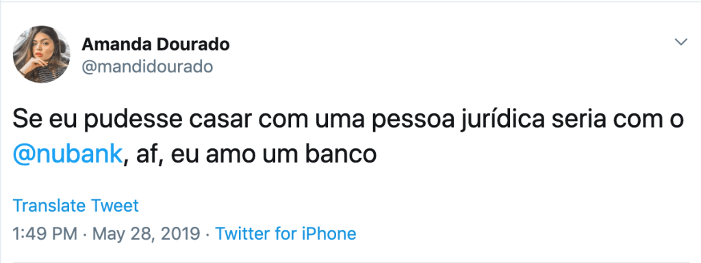 Tweet cliente do Nubank