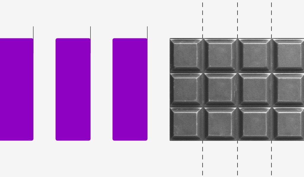 Novas regras do saque do FGTS: ilustração mostra uma barra de chocolate e barras roxas ao lado