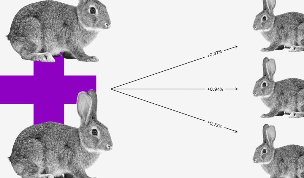 No fundo branco, existe um sinal de mais roxo com um coelho em cima e outro embaixo. Do sinal de mais, saem três setas apontando para outros três coelhos, cada uma com um número diferente.