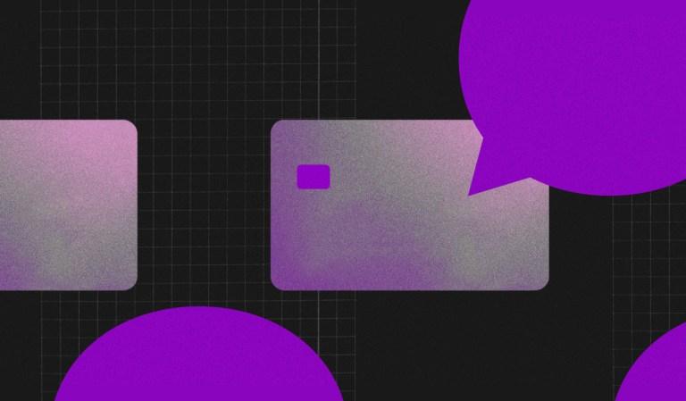 Cartão em tons de roxo conectado a um balão roxo.