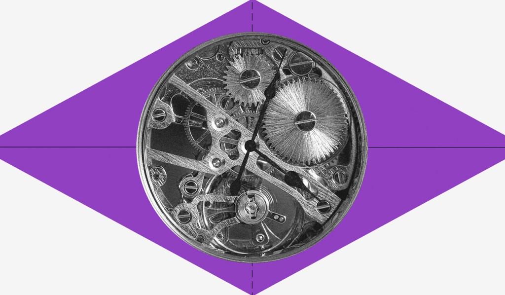 FGTS: um losango roxo com a engrenagem de um relógio redondo no meio