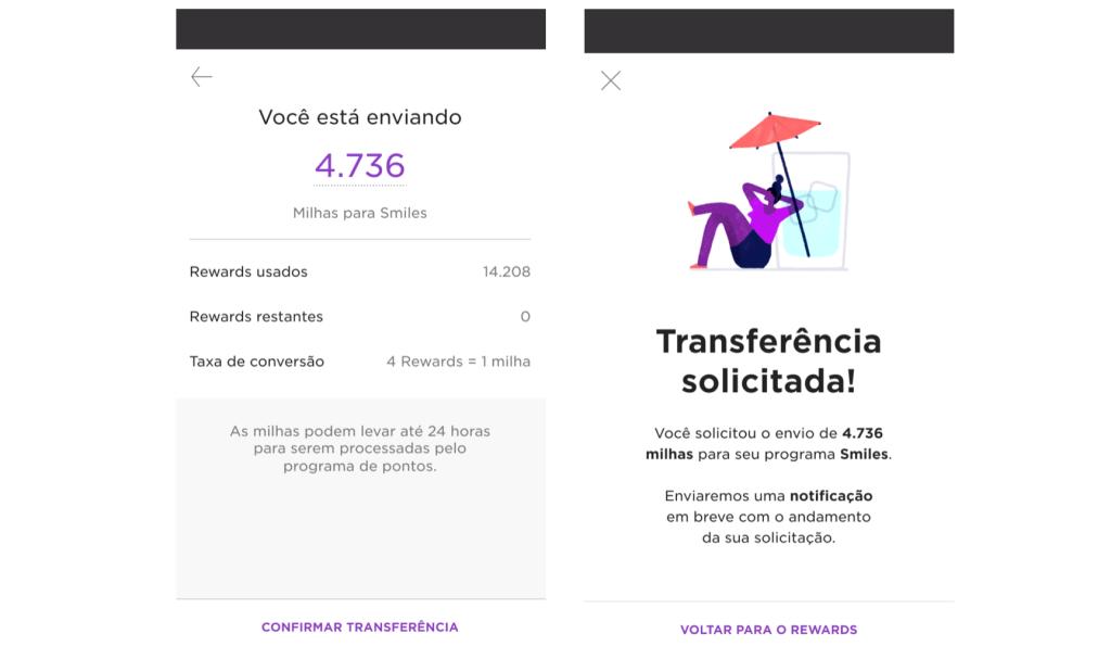 Nubank milhas: Prints de tela da transferência de pontos entre Nubank Rewards e Smiles