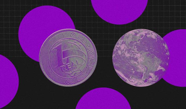 FGTS não caiu na poupança? Imagem mostra ilustrações de moedas de um Real e círculos roxos em um fundo preto