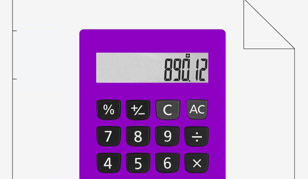 Ilustração de uma calculadora roxa.