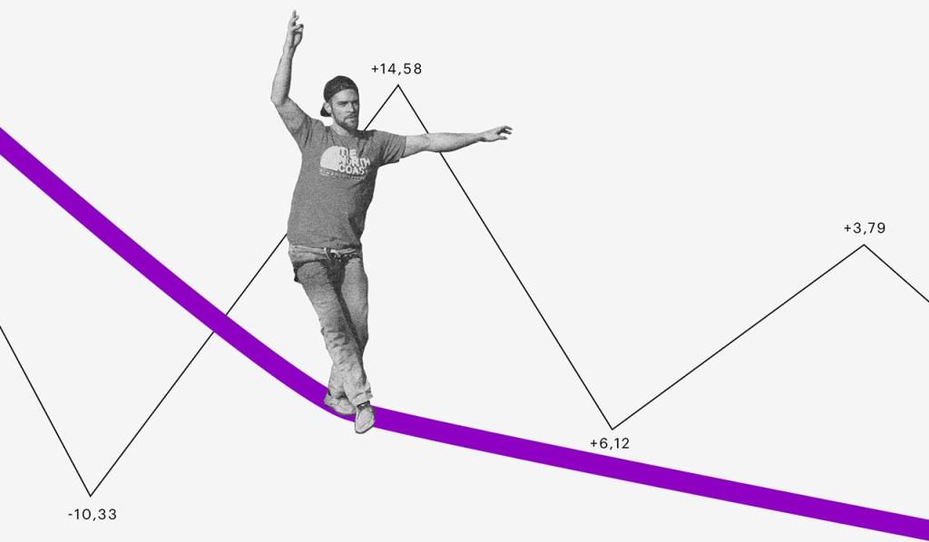 Carteira de investimentos: homem se equilibrando em uma corda bamba e uma linha de gráfico subindo e descendo