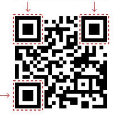Qr Code preto com setas vermelhas apontando para os três quadrados maiores que ficam posicionados em três dos cantos da imagem