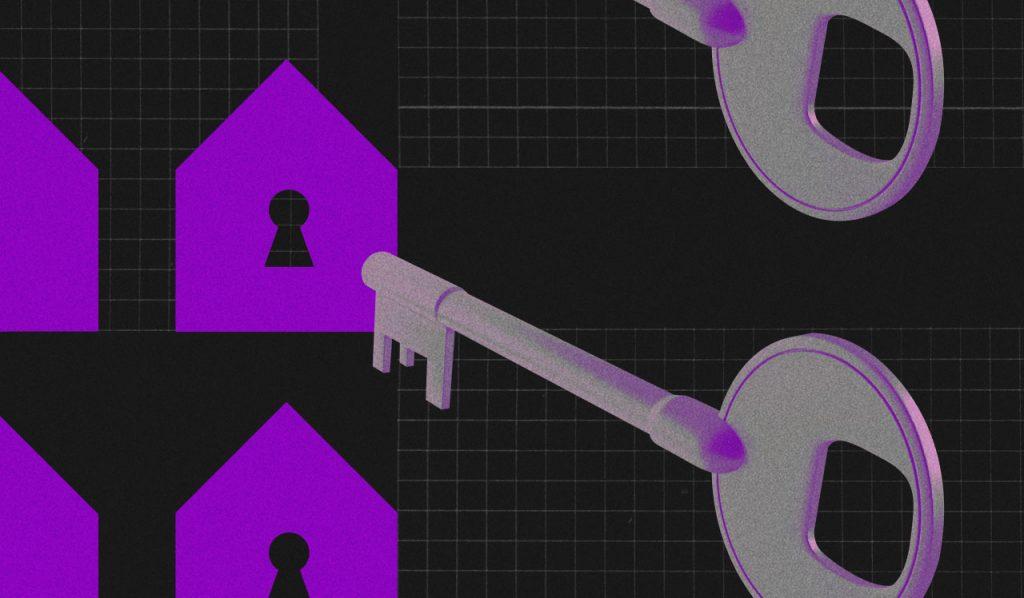 Renda extra: lustração mostra casas com fechaduras e uma chave em primeiro plano