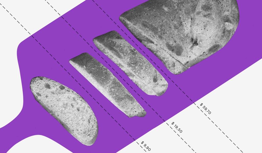 Renda extra: ilustração mostra tábua roxa com pão fatiado sobre ela