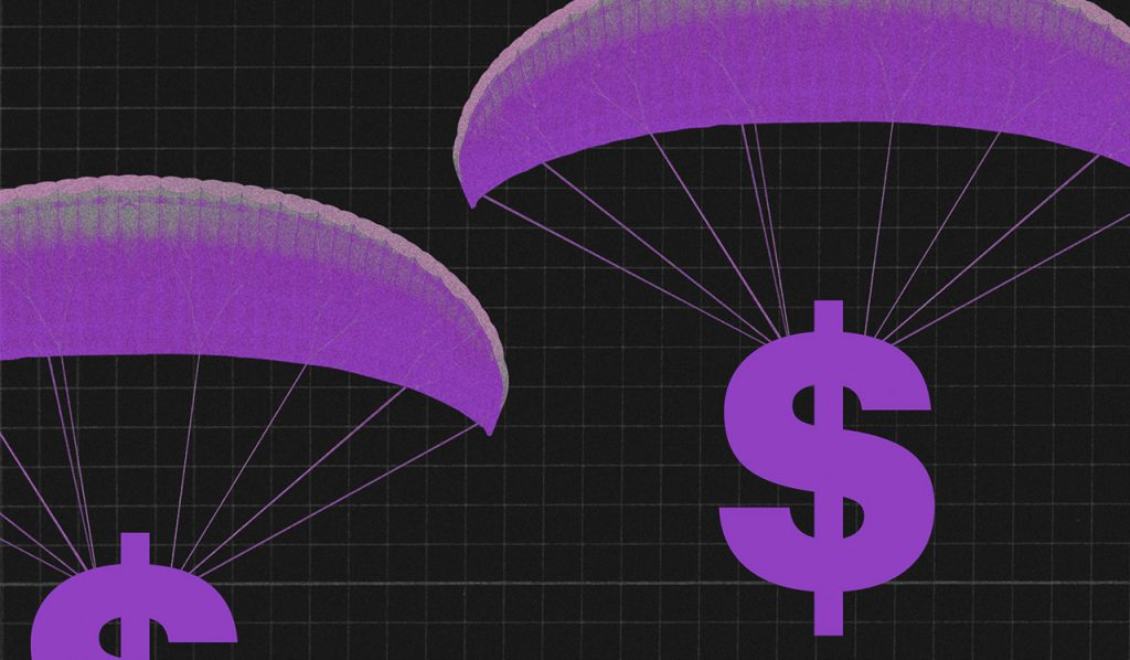 Ilustração mostra $ caindo de paraquedas roxos em um fundo preto