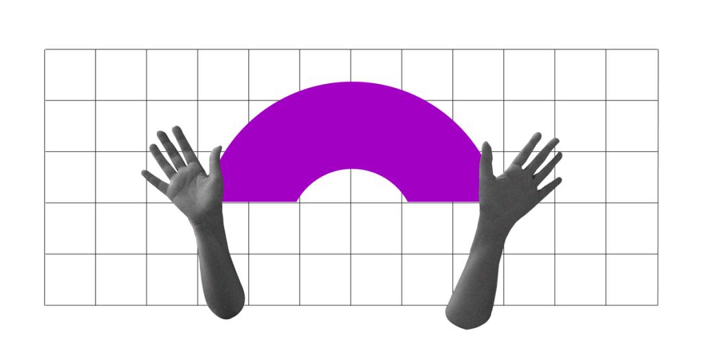 Ilustração de duas mãos com um arco-íris roxo entre elas.