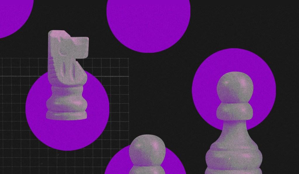 Morar junto: fundo preto com várias bolas roxas. Dentro de algumas delas estão peças de xadrez em furta-cor, imitando um tabuleiro.