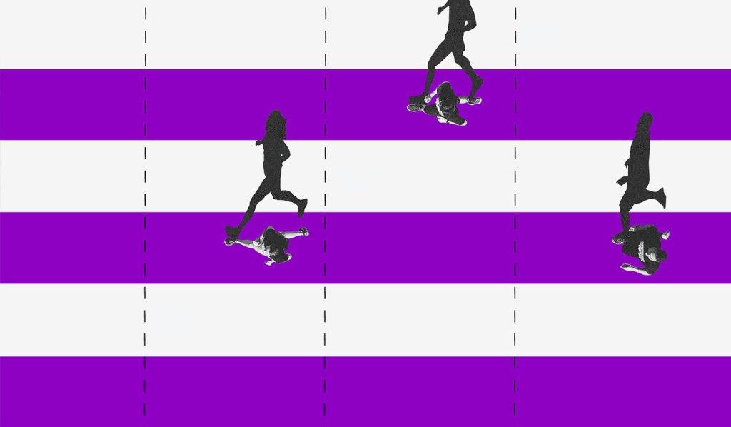 Renda extra: ilustração mostra pessoas correndo sobre linhas roxas