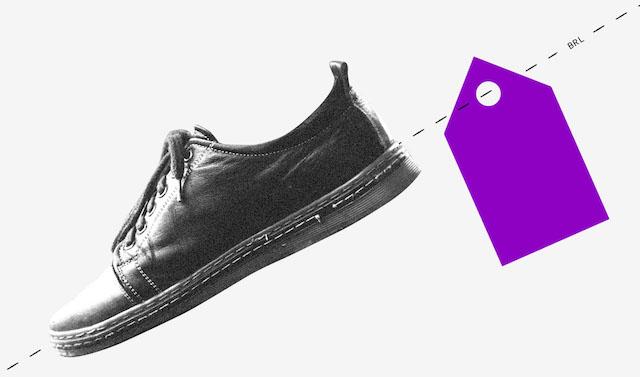Renda extra: ilusração mostra um sapato com uma etiqueta roxa
