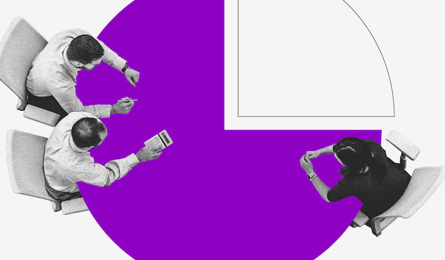 Selic: ilustração mostra três pessoas vistas de cima sentadas em uma mesa roxa