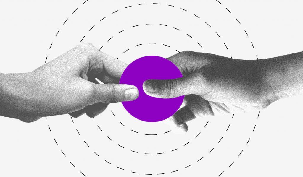 Coronavírus Covid-19: ilustração mostra duas mãos segurando um círculo roxo