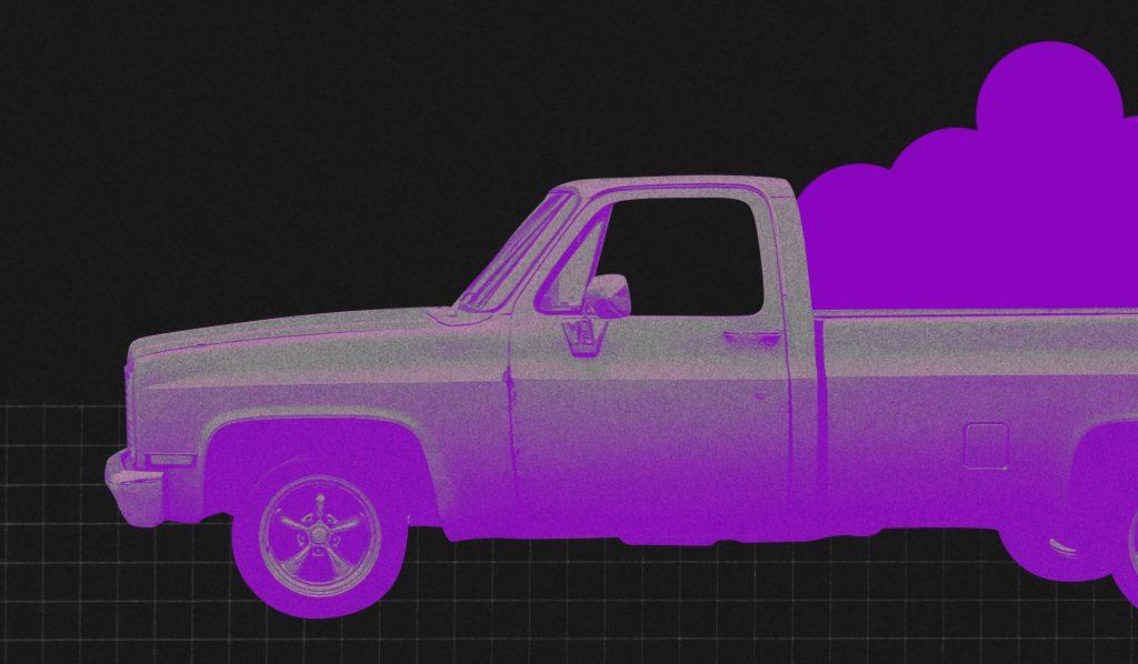 IPVA 2020: ilustração preta e roxa mostra um carro tipo picape