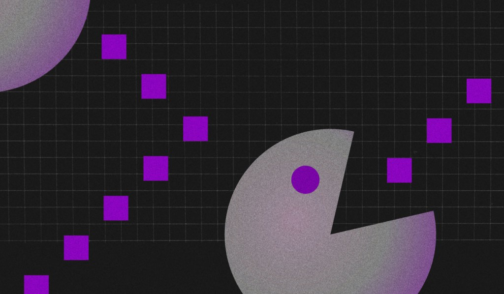 Limpar nome sujo: imagem do pac man comendo quadradinhos roxos