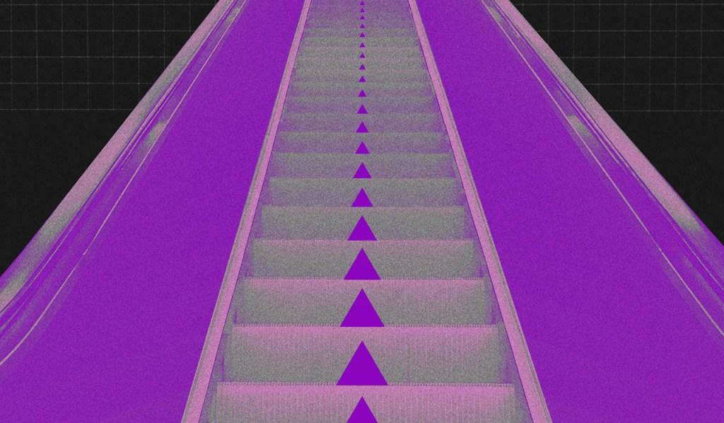 Limpar nome sujo: no fundo preto, colagem de uma escada rolante com setas para cima.