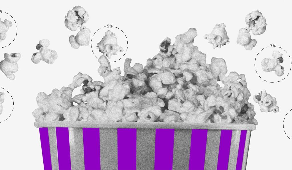 Taxa Selic: ilustração de um balde de pipoca listrado de roxo e cinza com pipocas saltando.