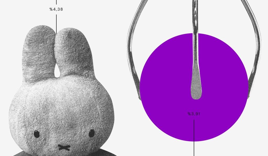 O que é ser empreendedor: colagem de um coelho numa máquina de pegar bichos de pelúcia. Ao lado do coelho, o pegador segura uma bola roxa.