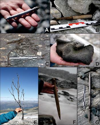 Além do coronavírus: montagem com sete fotos de diferentes objetos vikings, como faca, sapato e lança.