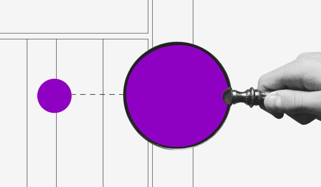 Como pagar boleto online: ilustração de uma mão segurando uma lupa com o meio roxo analisando um boleto.