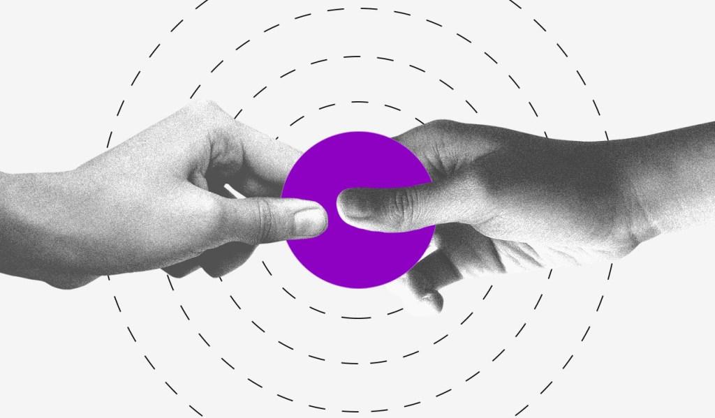 medidas para ajudar micro e pequenas empresas durante o coronavírus: ilustração mostra duas mãos segurando um círculo roxo