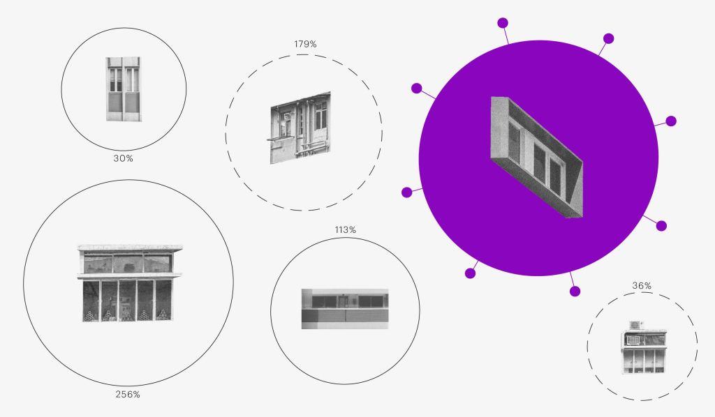 """Qual a maior pandemia da história: colagem mostra janelas, em referência ao isolamento social para conter a pandemia, cada uma em sua """"bolha"""" específica."""
